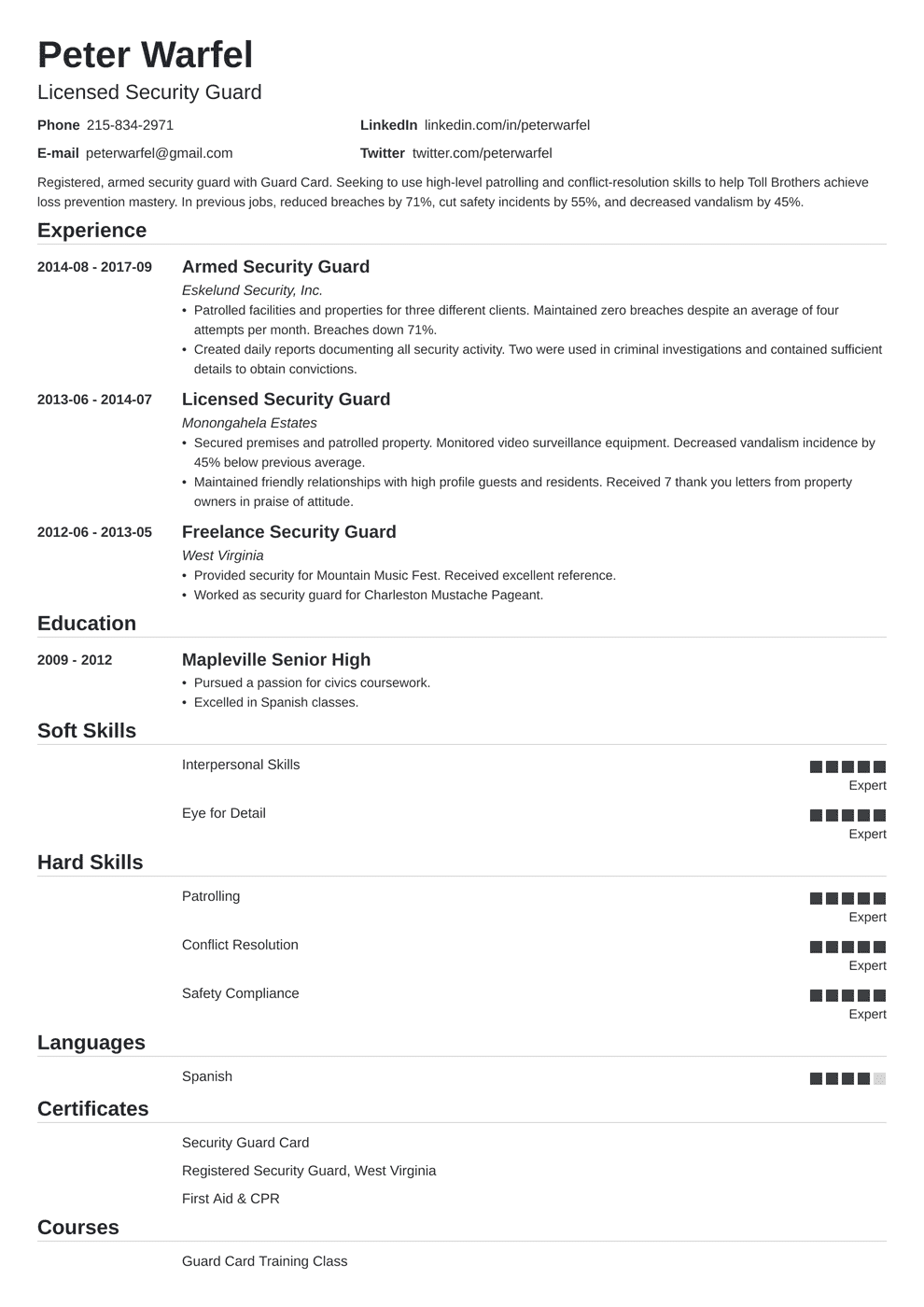Security Guard Resume: Sample & Complete Guide [+20 Examples]