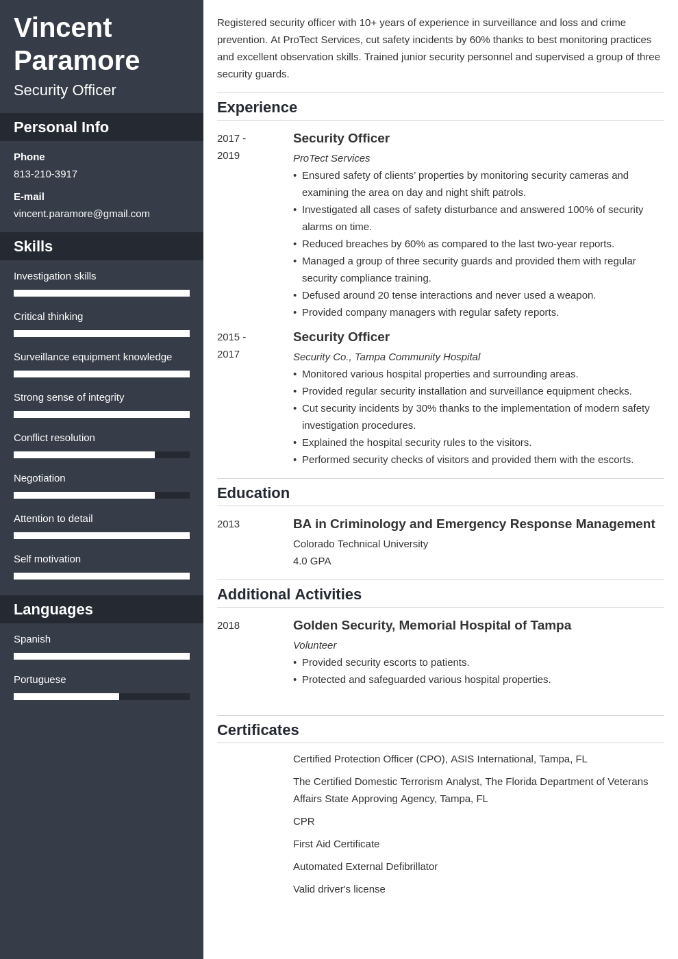 security officer resume example template cascade