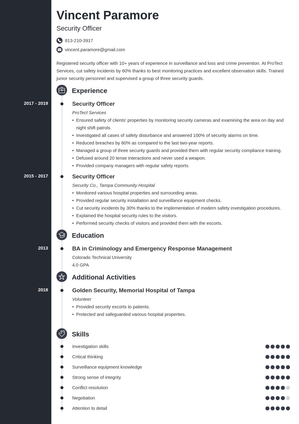 security officer resume example template concept