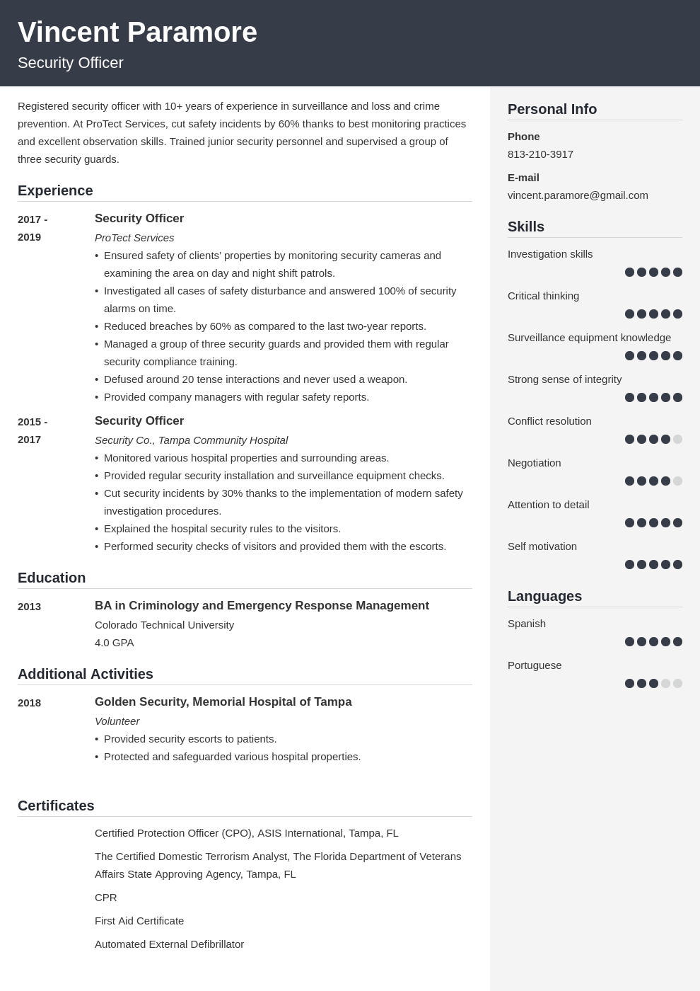 security officer resume example template cubic