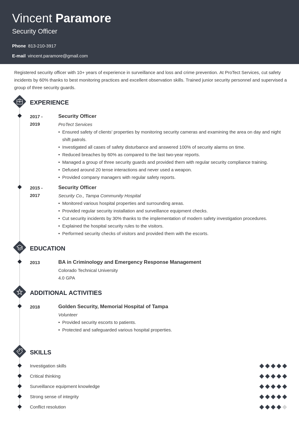 security officer resume example template diamond