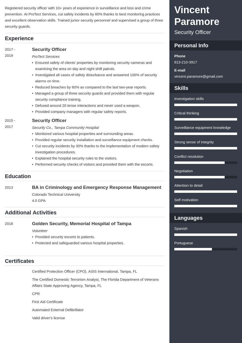 security officer resume example template enfold