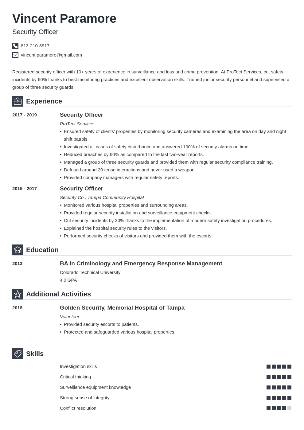security officer resume example template iconic