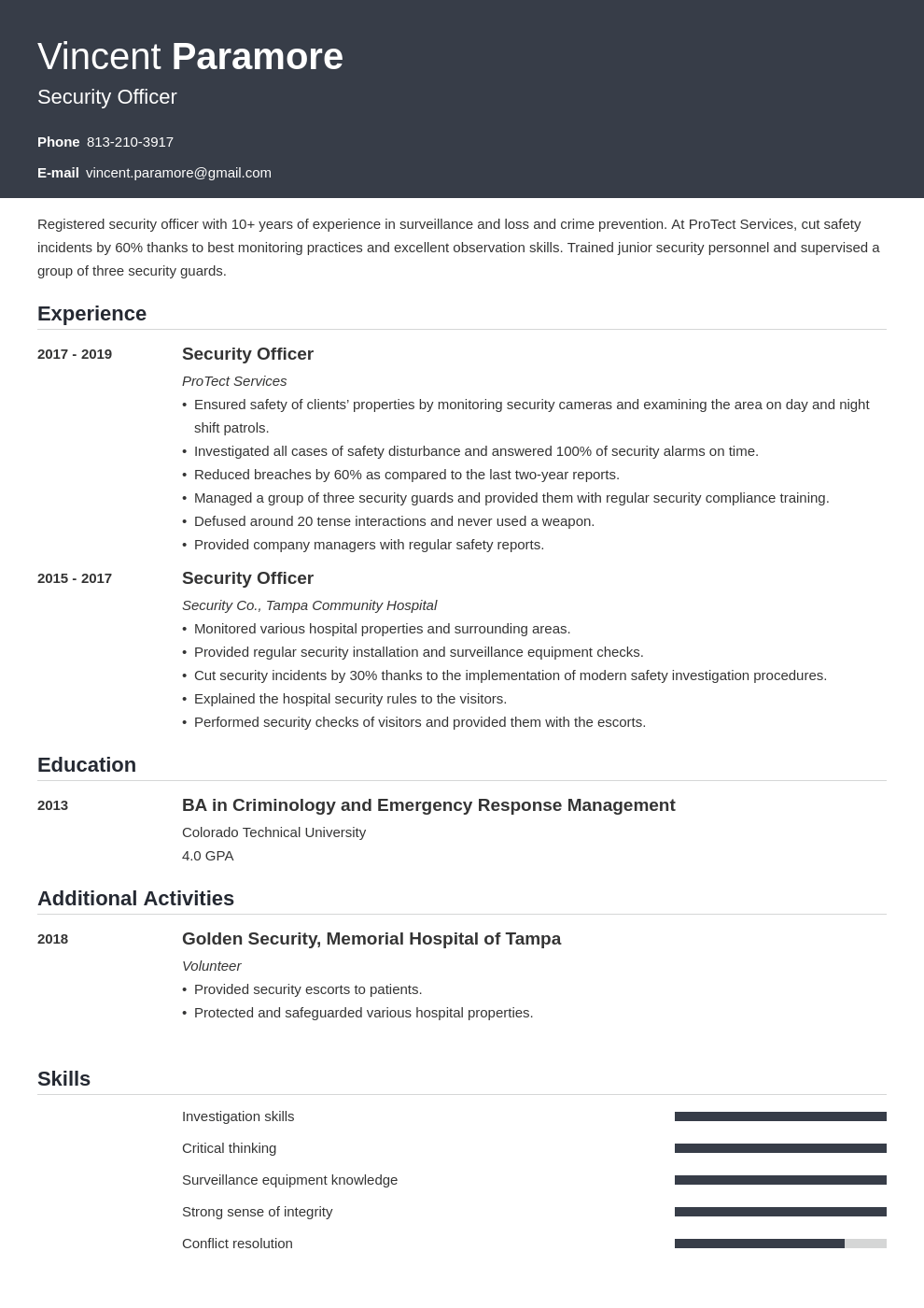 security officer resume example template influx