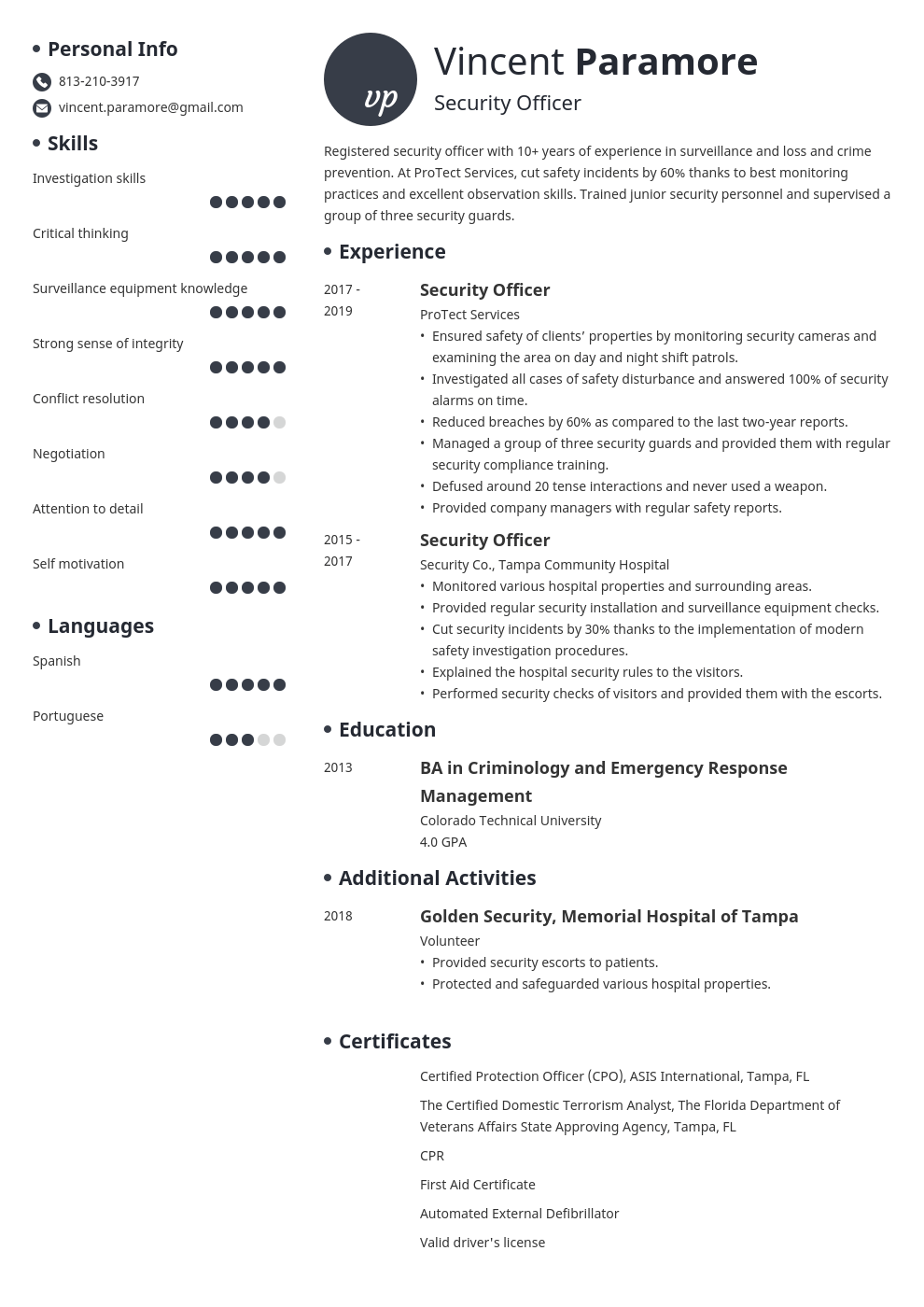 security officer resume example template initials