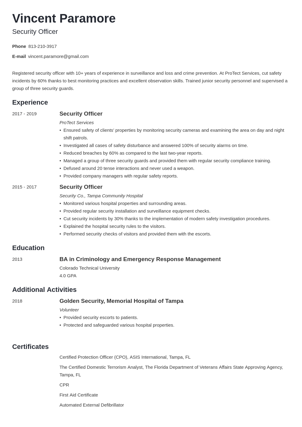 security officer resume example template minimo