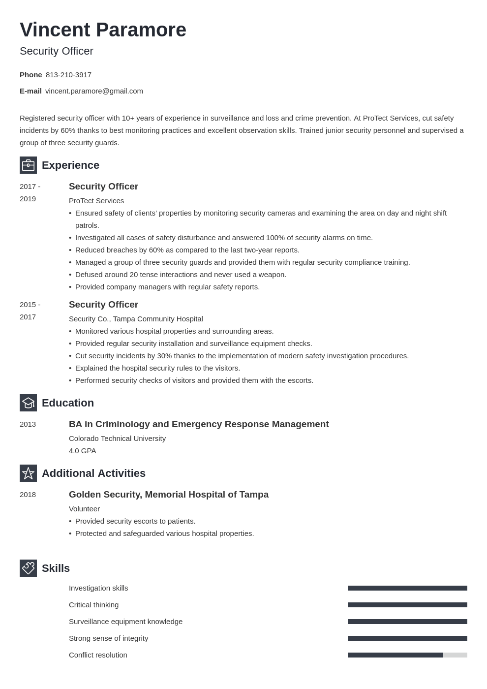 security officer resume example template newcast