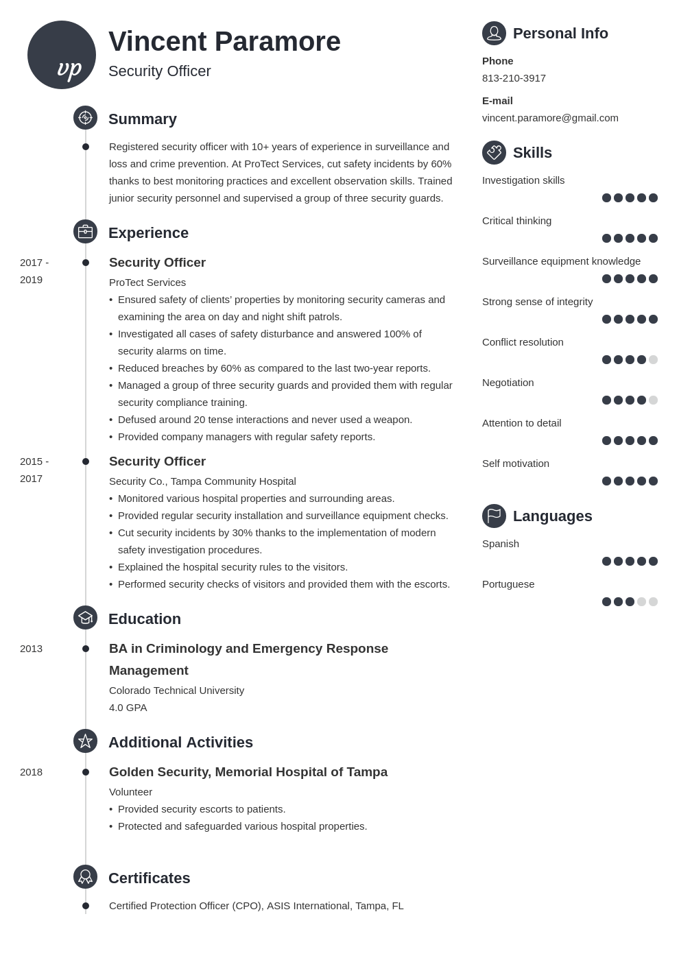 security officer resume example template primo