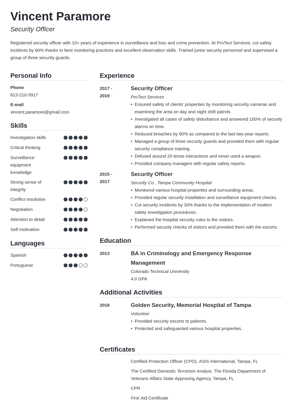 security officer resume example template simple