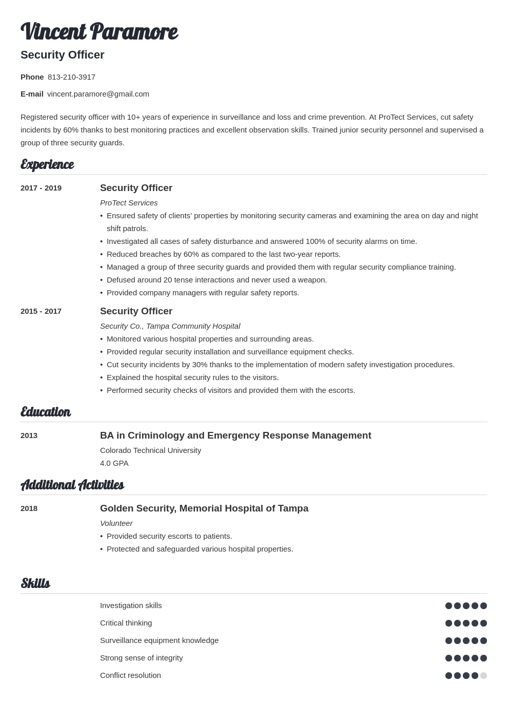 security officer resume example template valera
