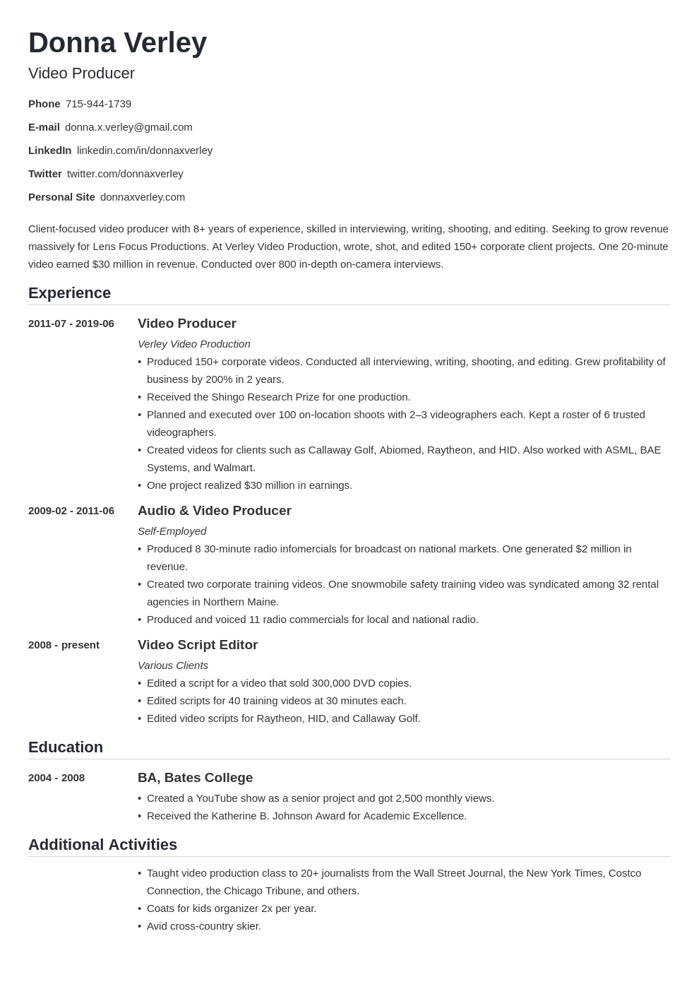 sample resume for self employment