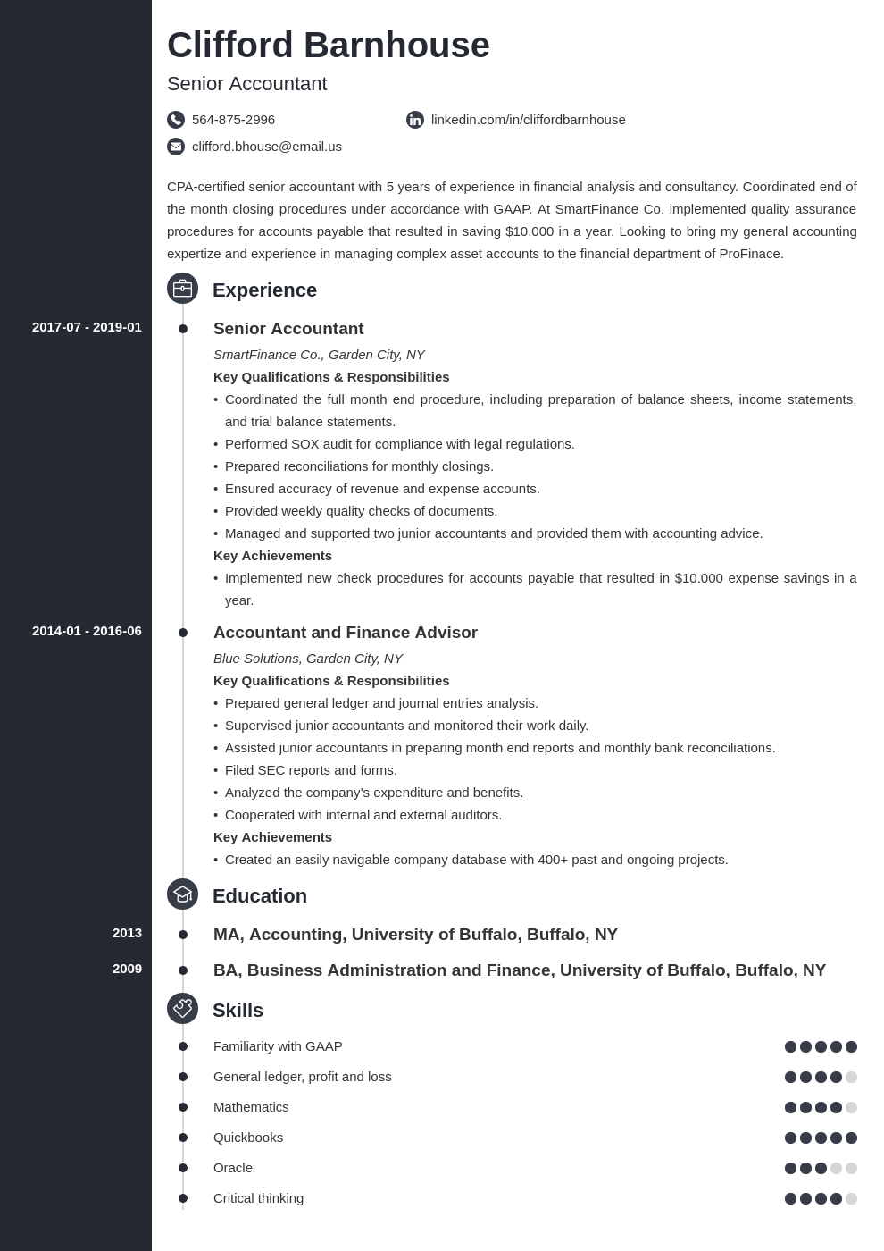 senior accountant resume example template concept