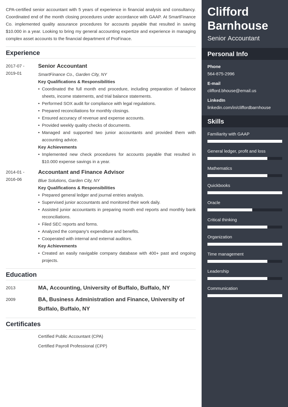 senior accountant resume example template enfold