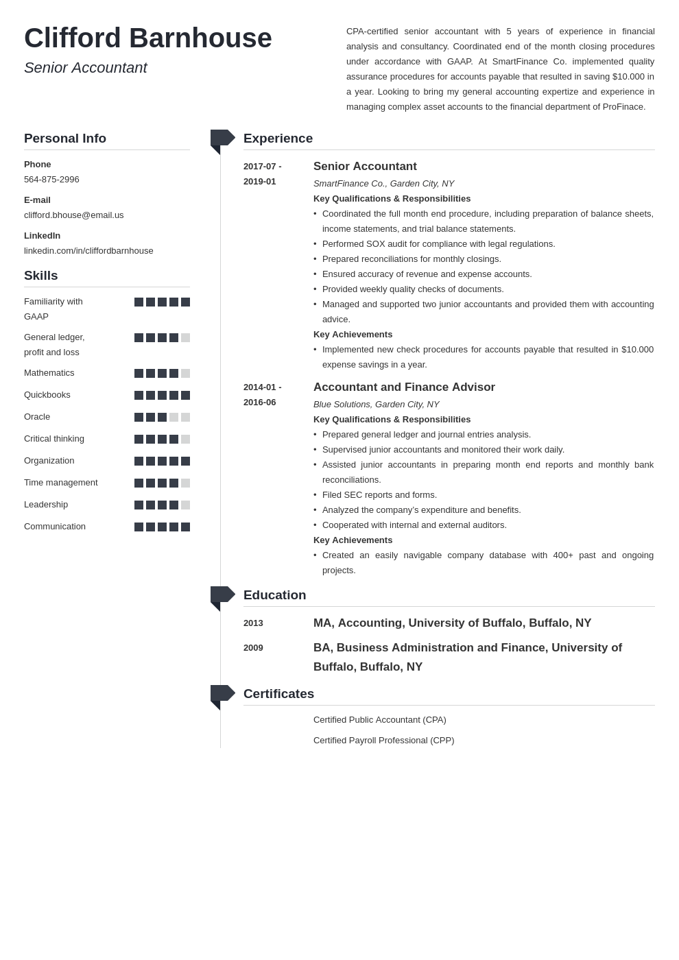 senior accountant resume example template muse