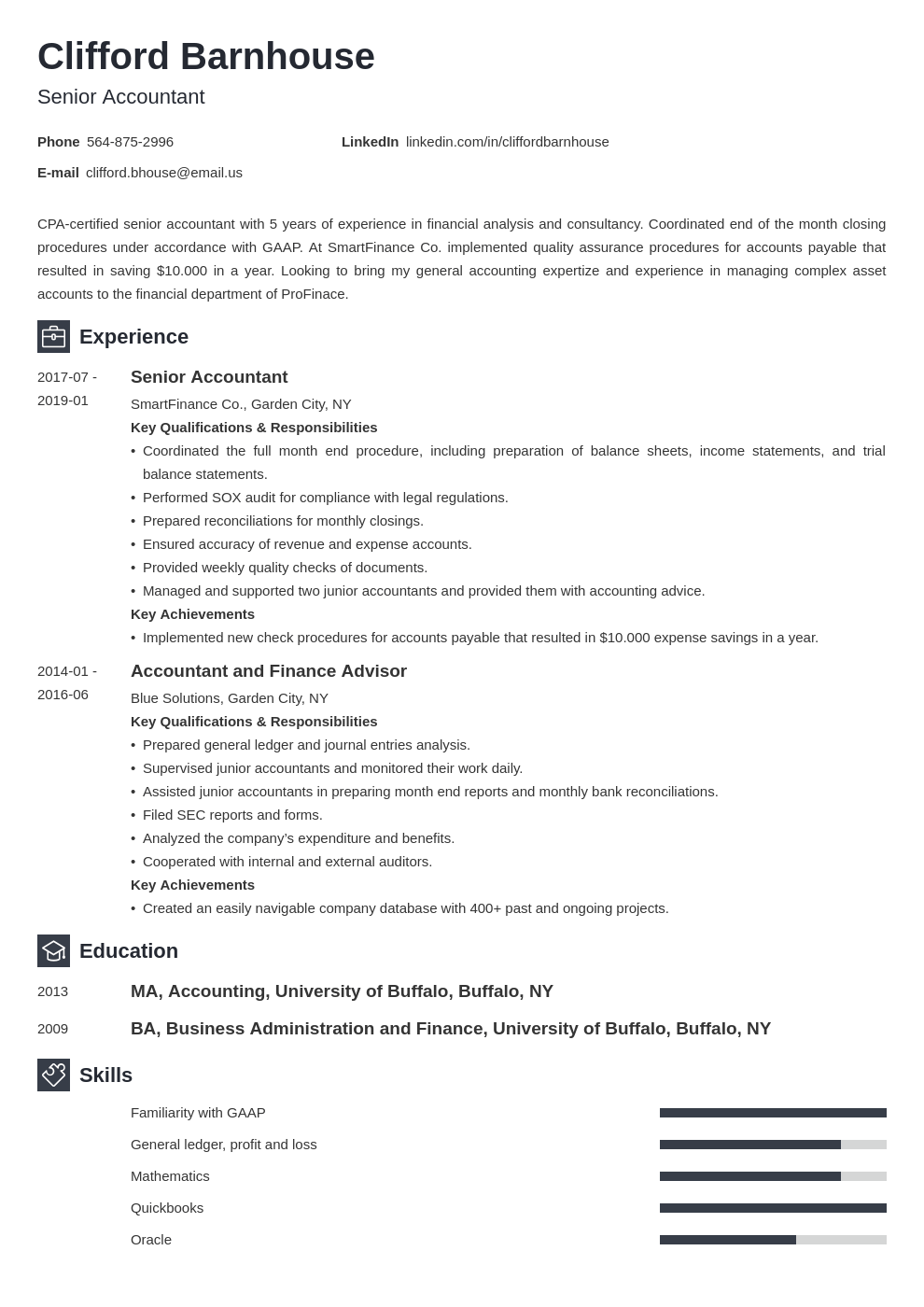 senior accountant resume example template newcast
