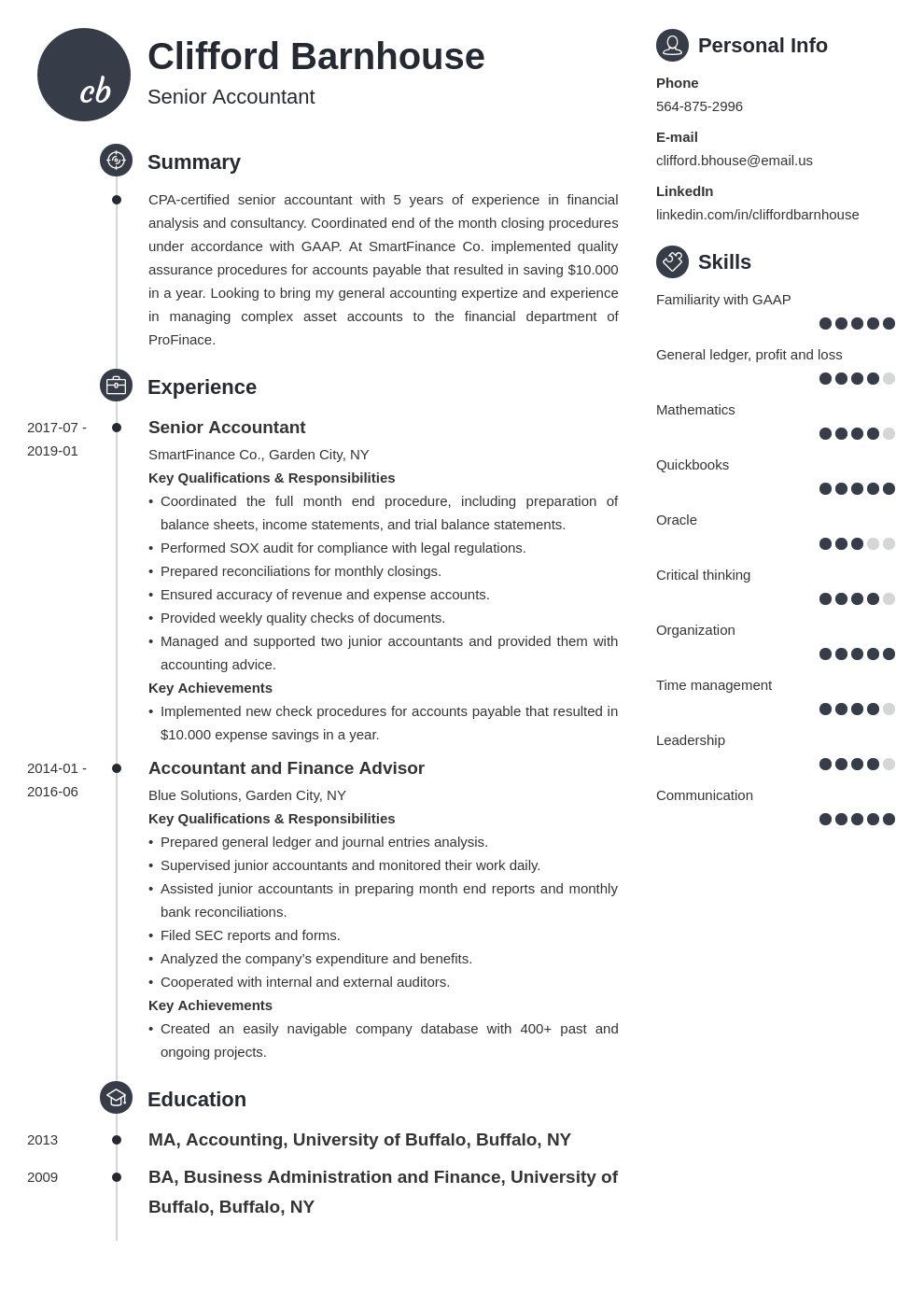 senior accountant resume example template primo