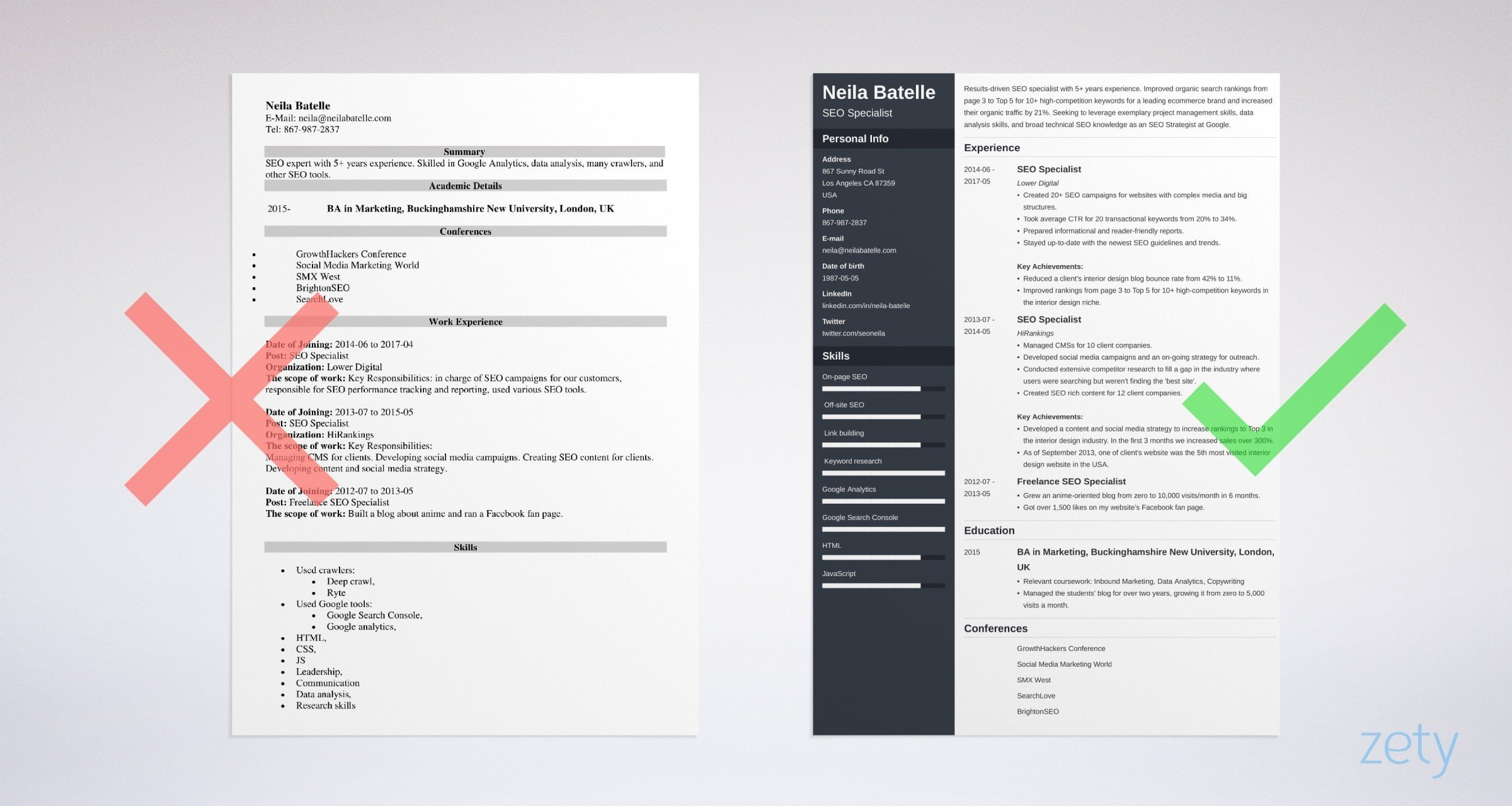 seo resume templates