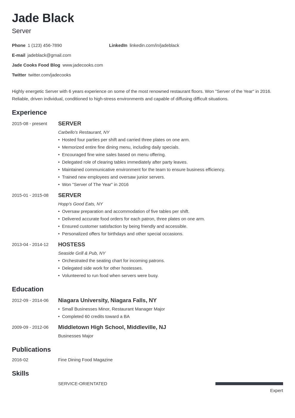 Job responsibilities of a server for a resume essaytown control panel