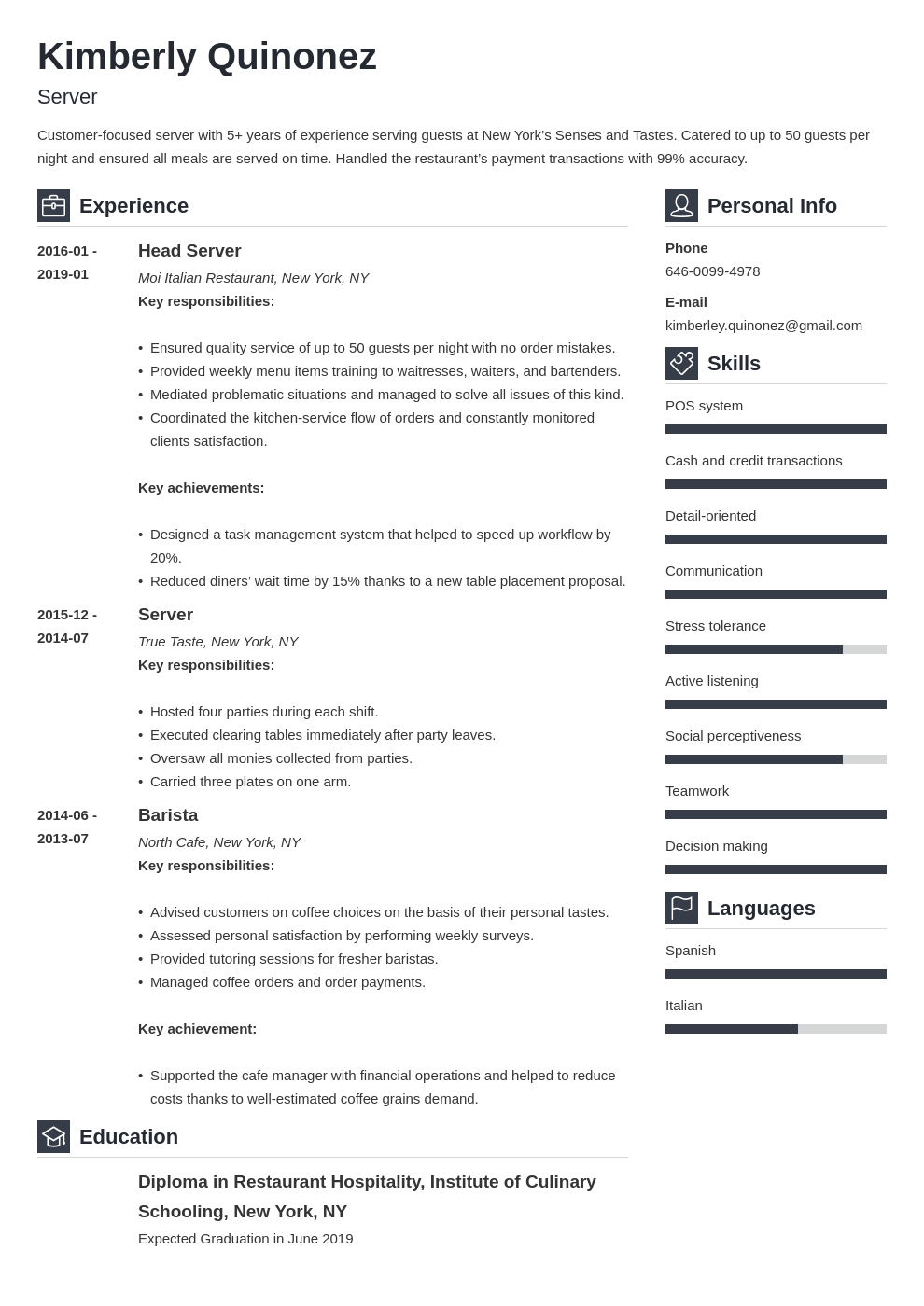 Server Resume Sample Complete Guide 20 Examples