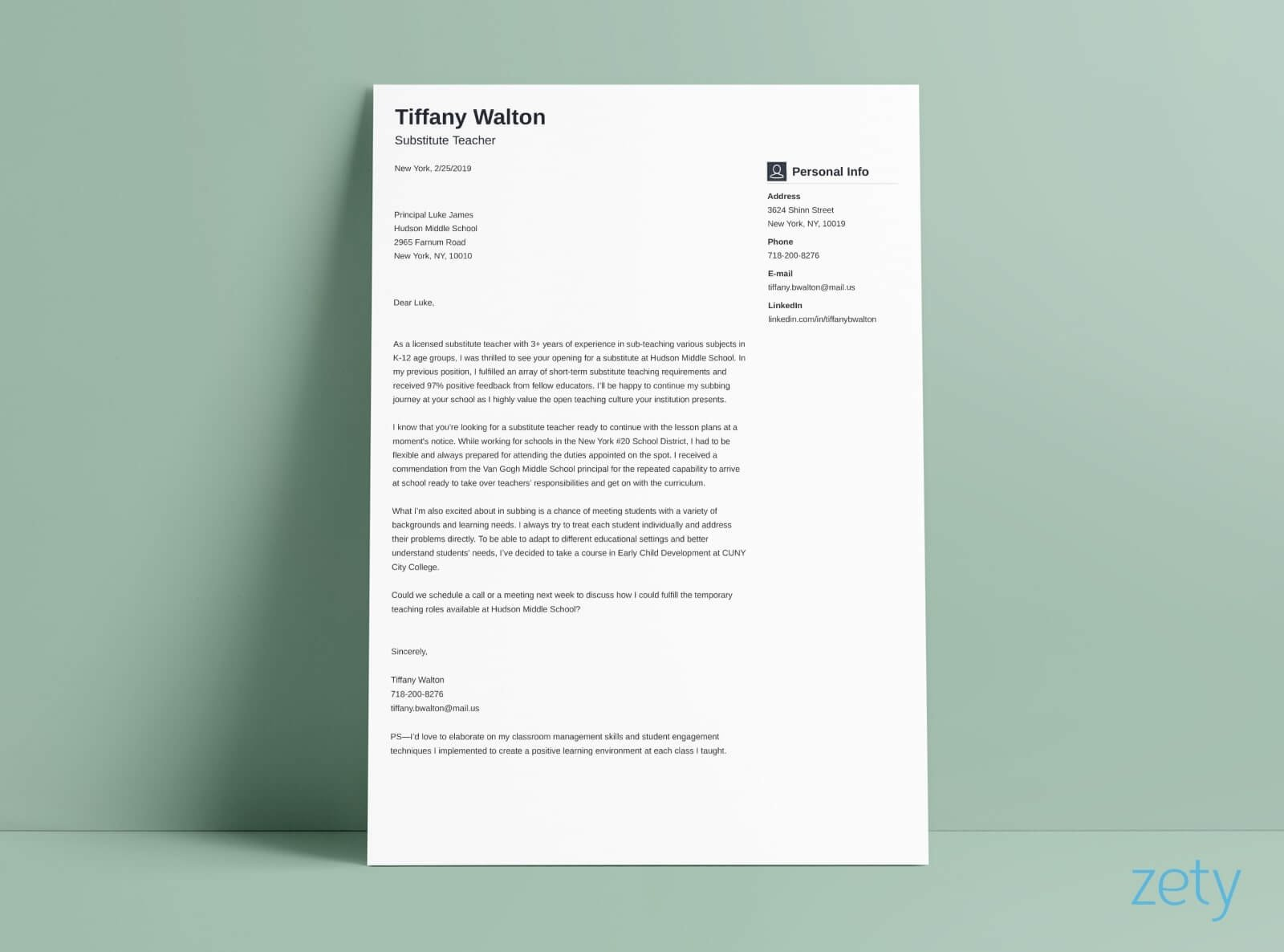 A Simple Cover Letter Perfect Portraits Stylish