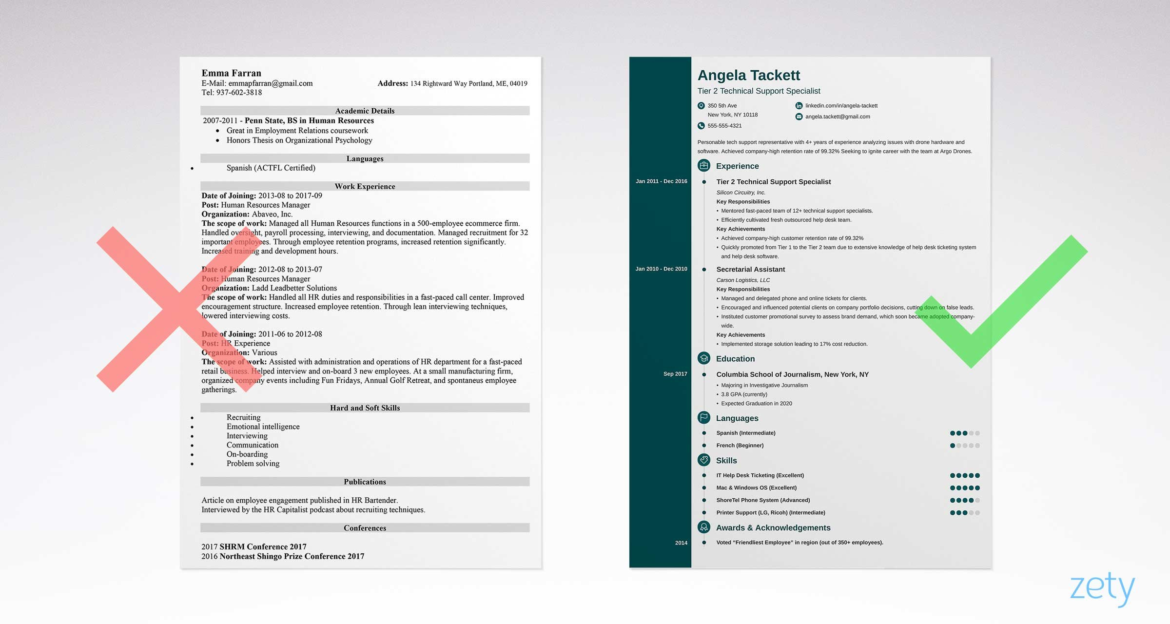 Delightful Right And Wrong Simple Resume Examples Comparison