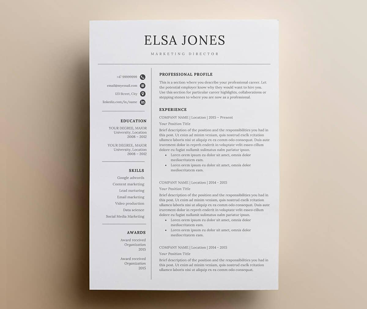 minimalistic and simple resume layout