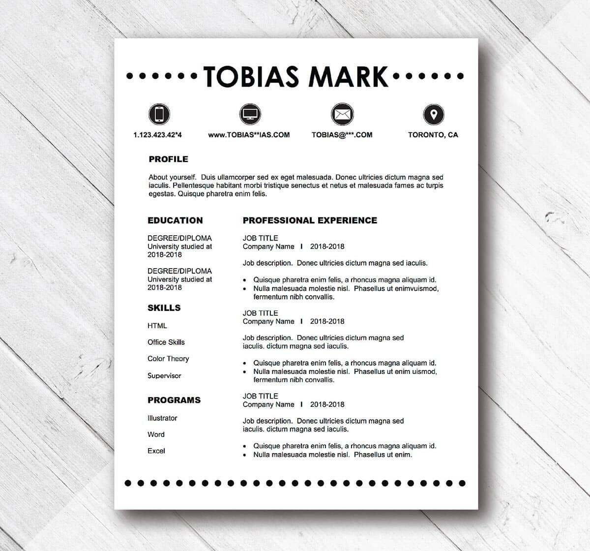 monochrome example of simple resume