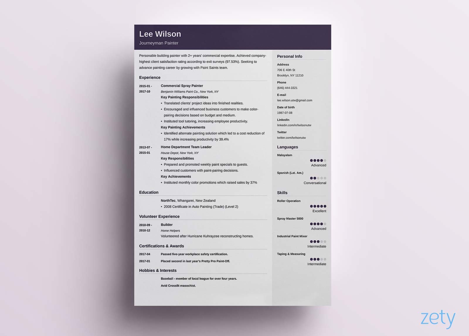 purple simple resume template with two columns