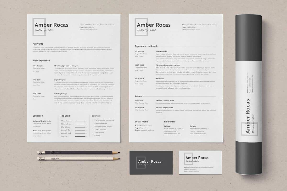 Simple Job Resume Examples With Business Cards And Poster Tube. U201c