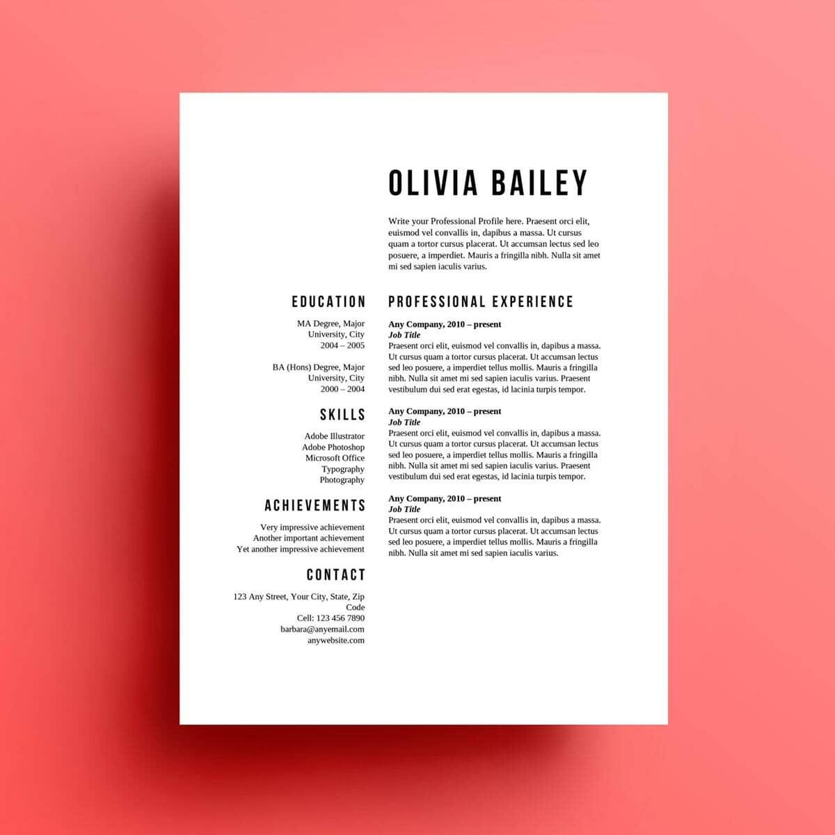 the olivia resume template