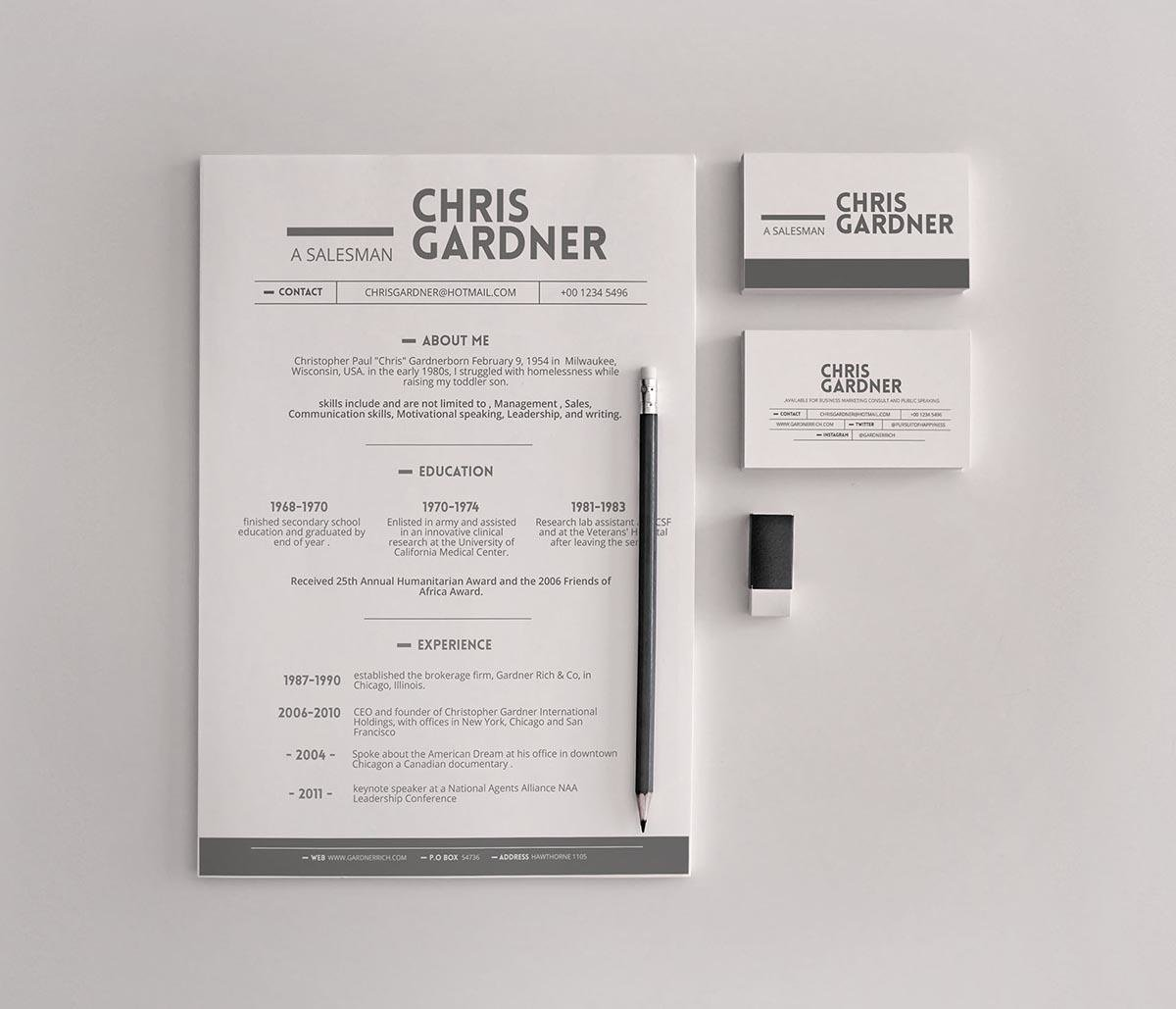 Simple Free Resume Template With Business Cards