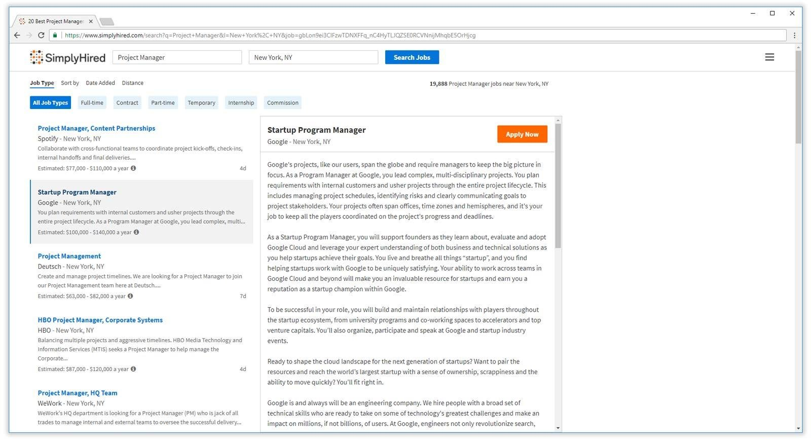 simplyhired job search results