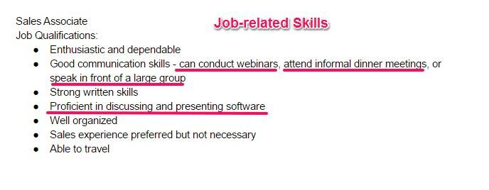 Step 1: Go Through The Job Description To Find The Job Related Skills That  Are Required For The Position.  Skills Sample Resume