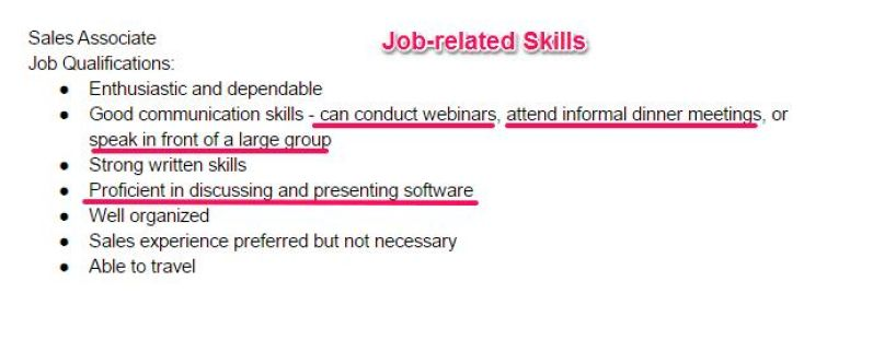 step 1 go through the job description to find the job related skills that are required for the position