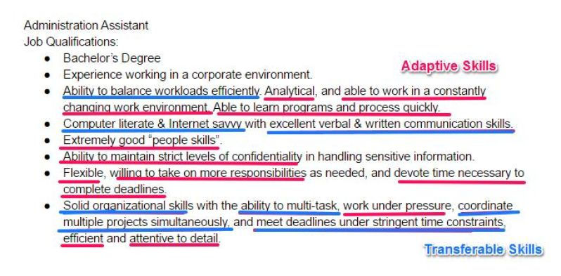 step 4 next look for all of the adaptive and transferable skills that the employer wants on top of the regular job related skills