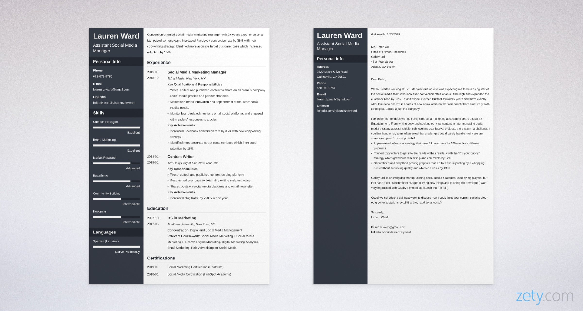 social media manager resume and cover letter set