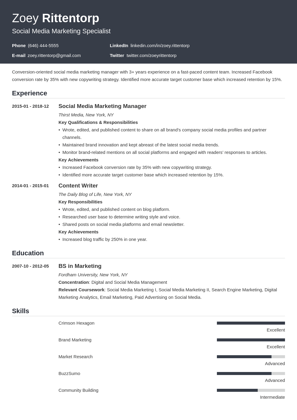social media resume example template influx
