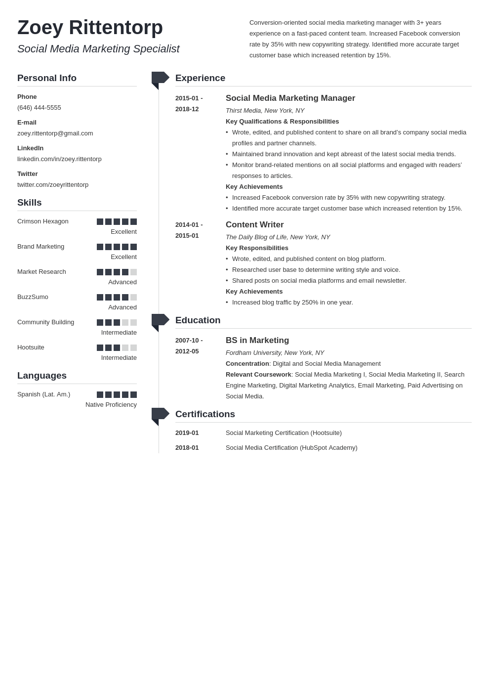social media resume example template muse