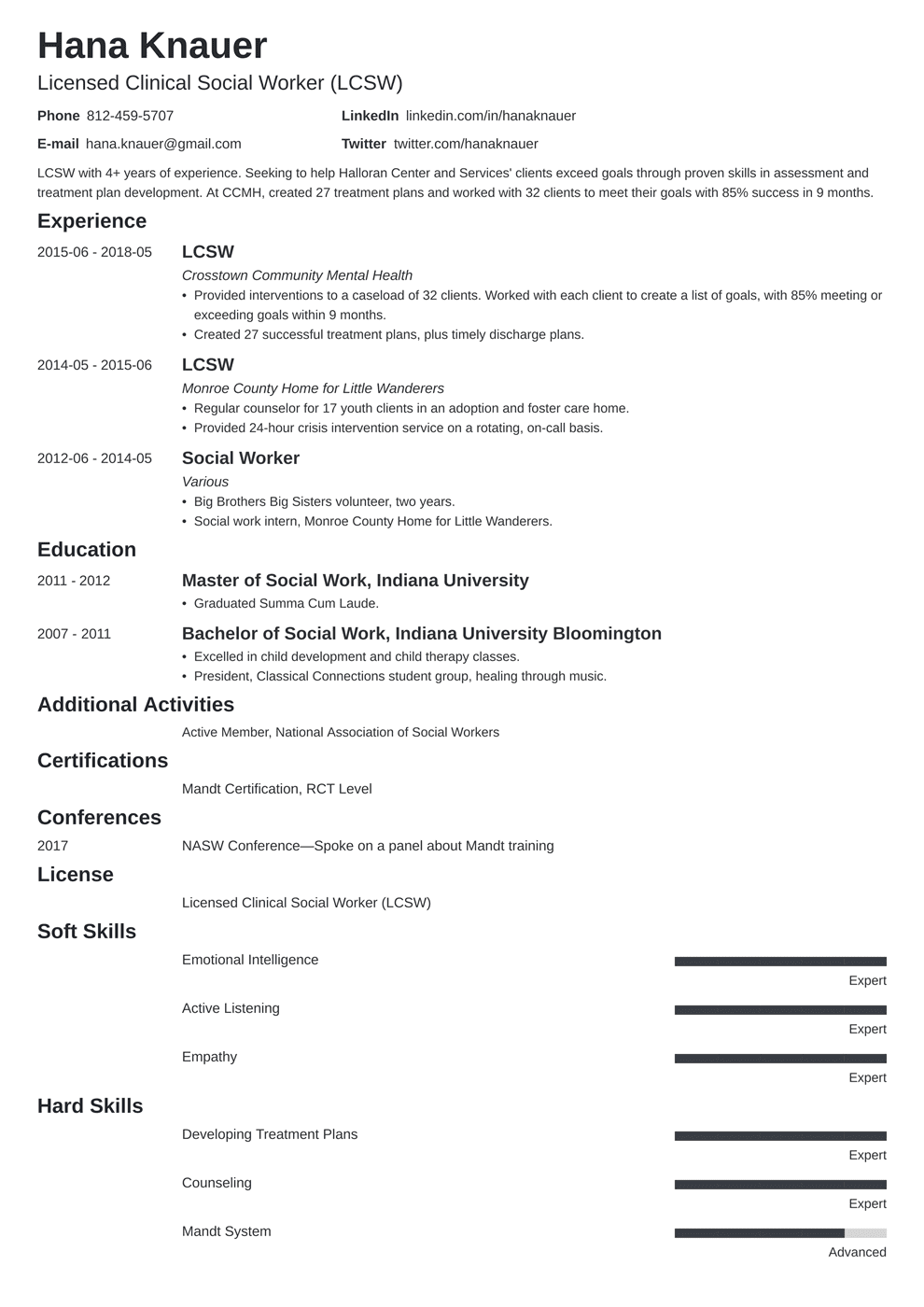 resume of social worker
