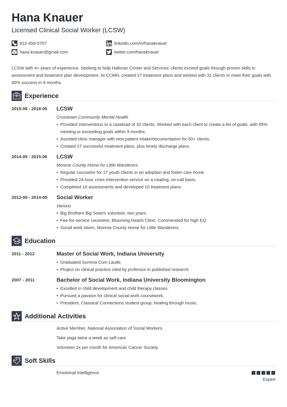 social work resume example template iconic