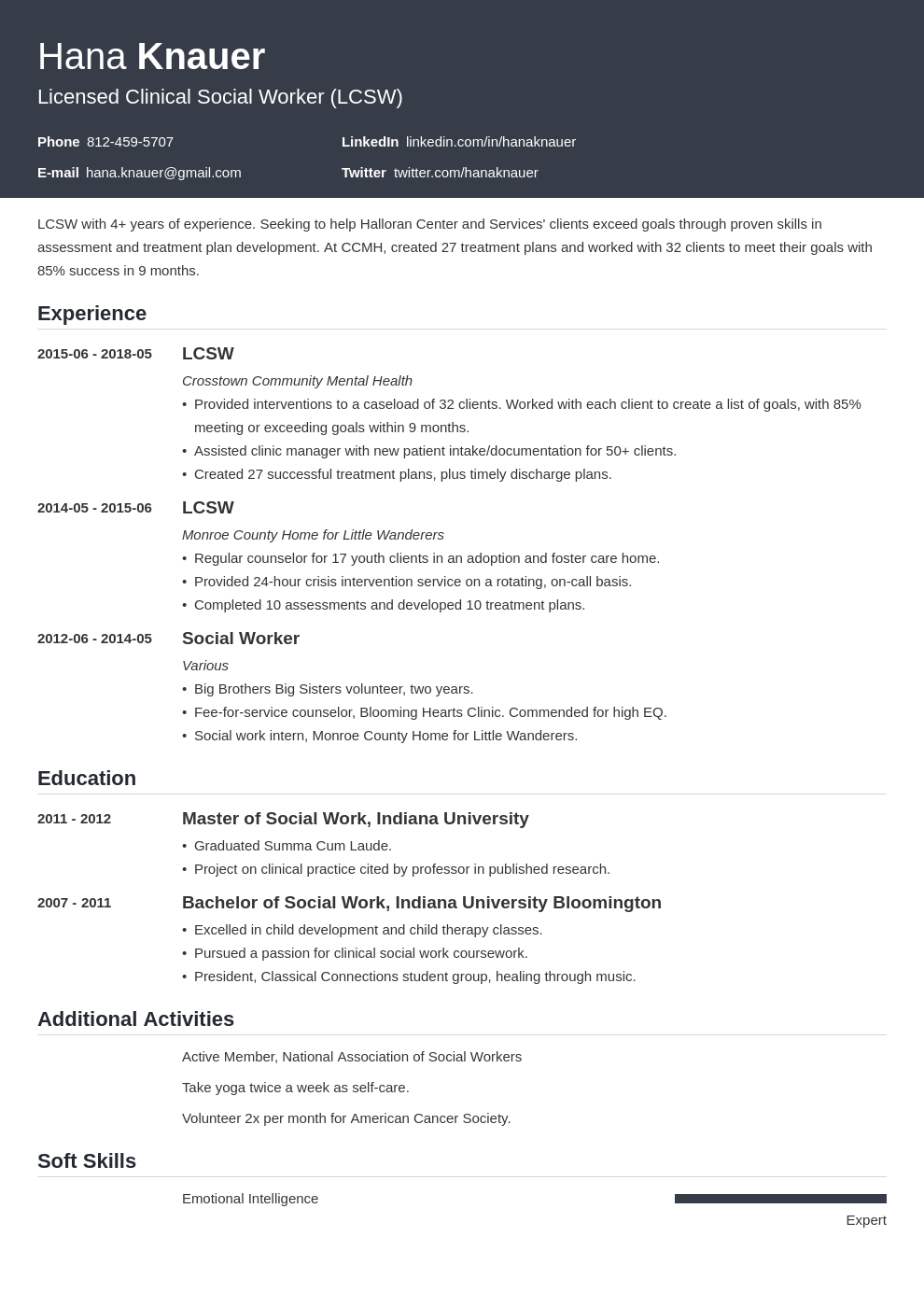 social work resume example template influx