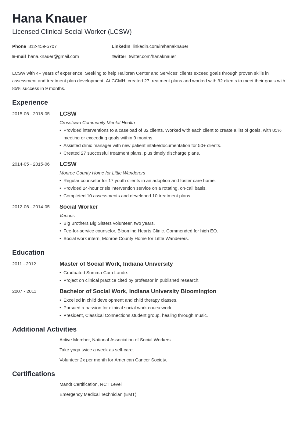 social work resume example template minimo