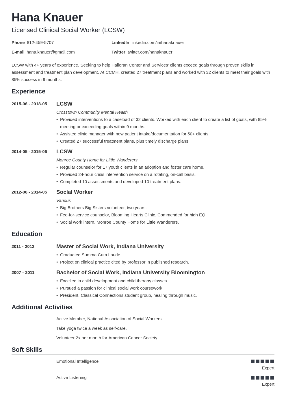 social work resume example template nanica