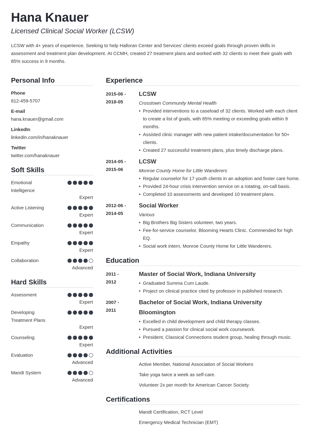social work resume example template simple