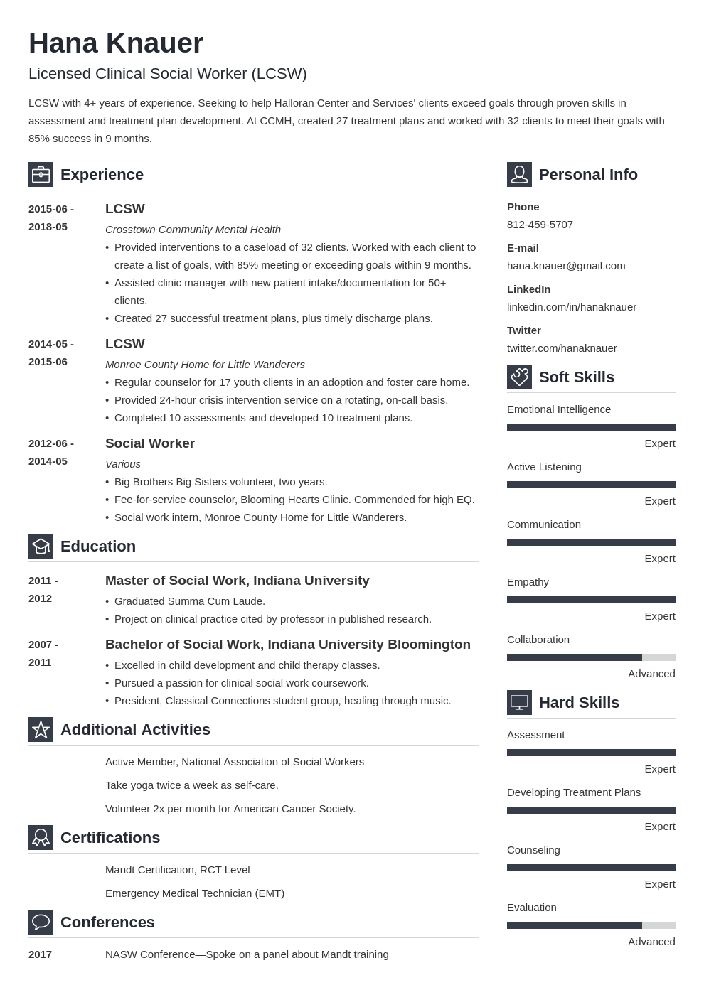 social work resume example template vibes