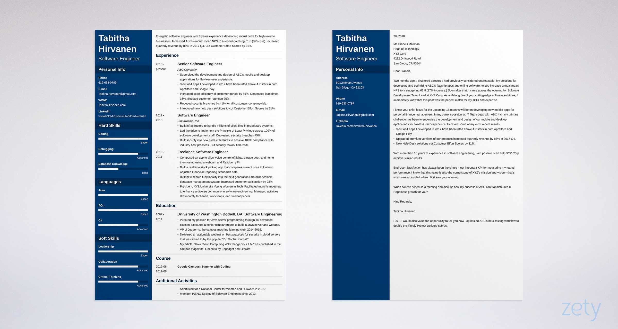 software engineer cover letter and resume templates