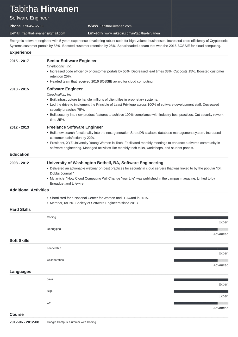 software developer resume format