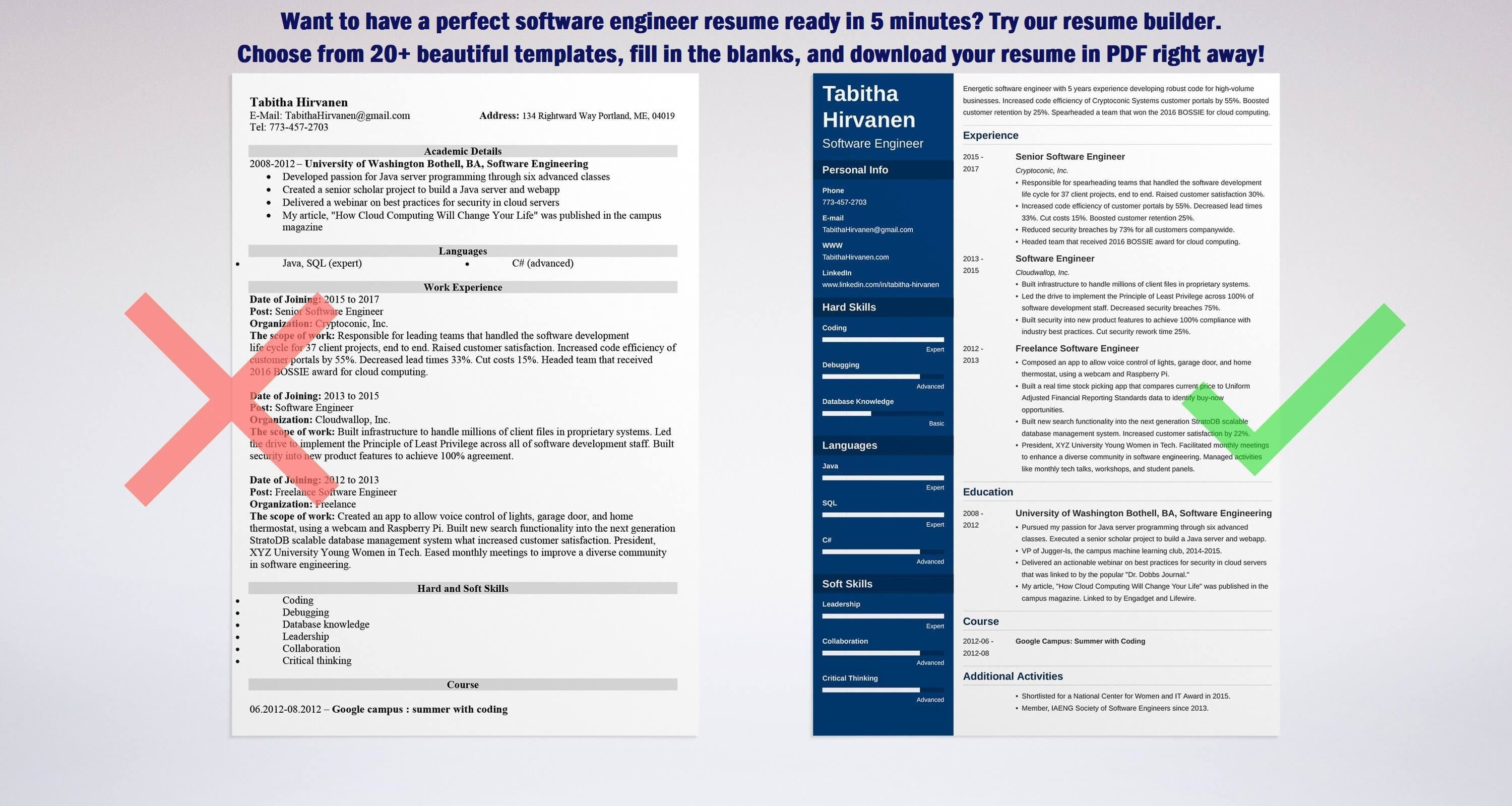 Best Resumes 2017 Unique Software Engineer Resume Guide And A Sample [48 Examples]