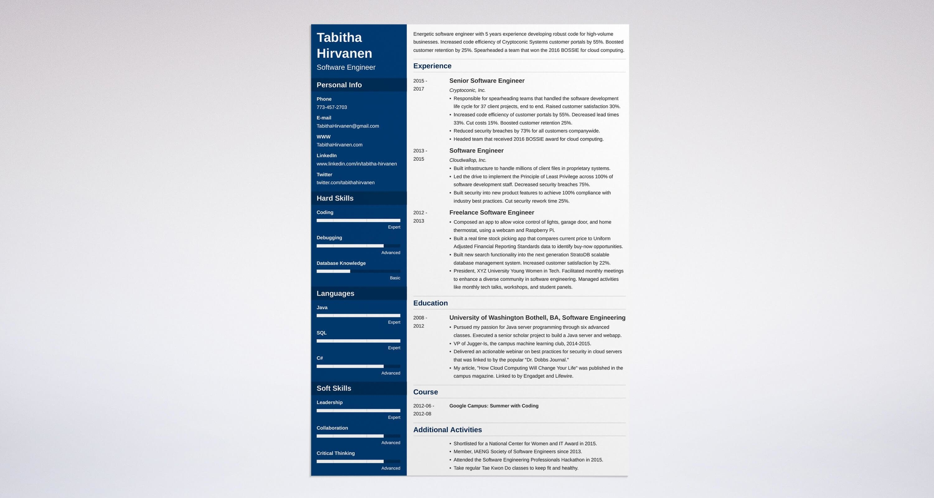 Software engineer CV sample Blue Sky Resumes