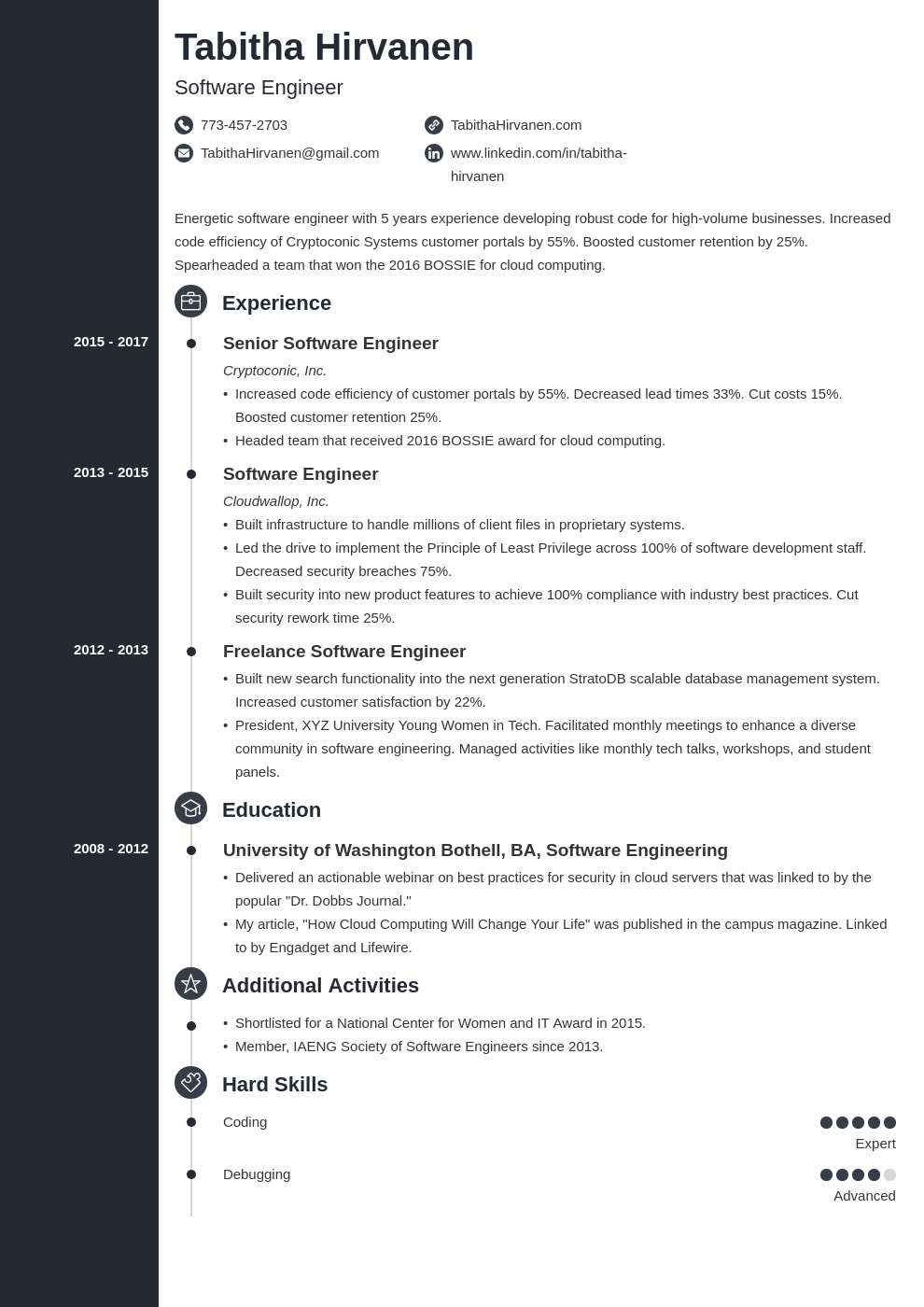 software engineer resume template concept